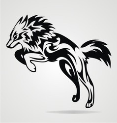 Jumping Wolf Tribal vector