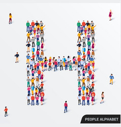 large group people in letter h form human vector image