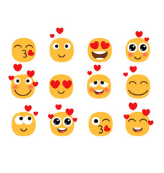love eyes emoticons faces vector image