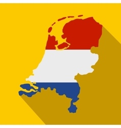 map netherlands with dutch flag icon vector image