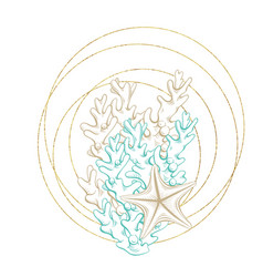 Marine wreath seashell sea corals gold line art vector