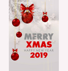 merry christmas and happy new year 2019 white vector image
