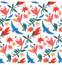 mexican style paper cut colorful seamless pattern vector image