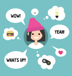 modern communication concept happy girl vector image