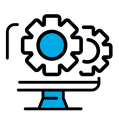 monitor gear icon outline style vector image