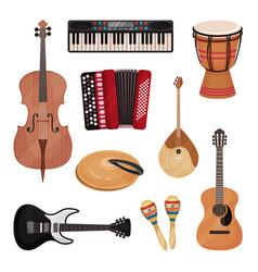 musical instruments set cello violin drum vector image