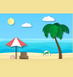 origami sea beach summer vacation abstract vector image
