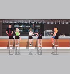 People sitting at bar counter desk waiter serving vector