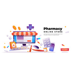 Pharmacy online store banner vector