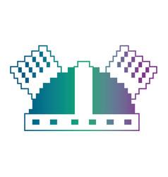 pixel helmet protection game icon vector image