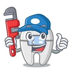 Plumber toys braces in mascot box vector