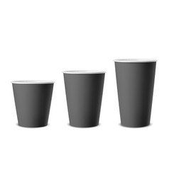Realistic 3d black paper disposable cup vector