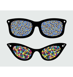 Retro eyeglasses with abstract reflection vector