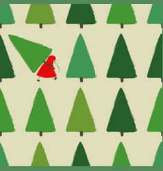 santa stealing christmas tree seamless pattern vector image