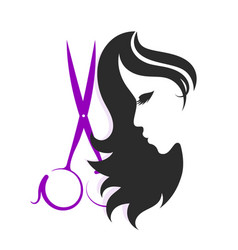 Scissors and silhouettes a girl vector