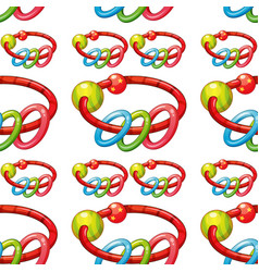 Seamless pattern tile cartoon with babys rattle vector