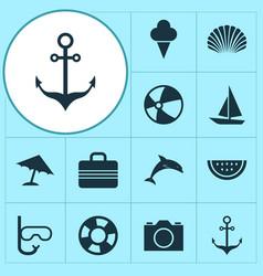 Season icons set collection mammal conch vector