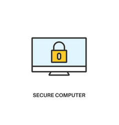 secure computer icon vector image