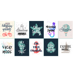 set 10 summer adventure and travel vector image