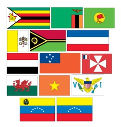 Set 14 flags of countries started with V W Y Z vector