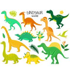 set of flat cartoon dinosaurs and tropic plants vector image