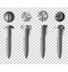 Set of screws bolts nuts and rivets top and vector