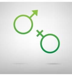 Sex symbol Green icon vector
