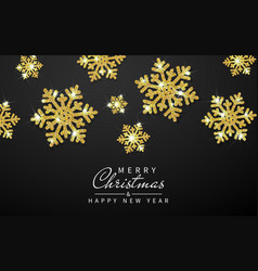 shining gold snowflakes on black background vector image