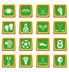 Sport equipment icons set green vector