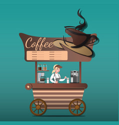 street food shop coffee vector image