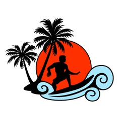 Surfer on a wave with palms and sunset vector