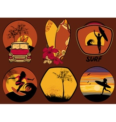 Surfing Beach Icon Set vector