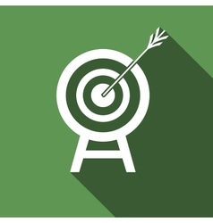 Target with dart in black icon with long shadow vector image