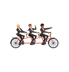 Three cheerful men in black classic suits riding vector