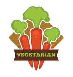 Vegetarian food promo logo with ripe crispy vector
