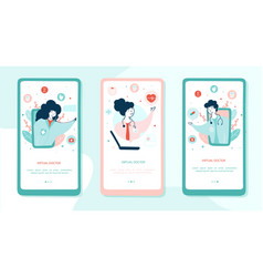 virtual doctor onboarding mobile app page screens vector image