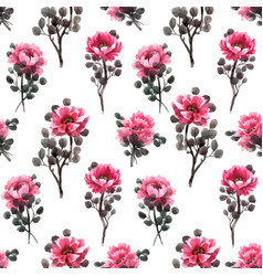 watercolor chinese rose pattern vector image