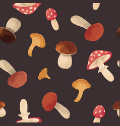 Watercolor mushroom pattern vector