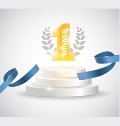 winner background with blue ribbon on round vector image