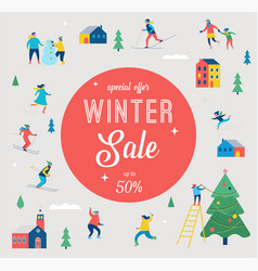 winter sale banner and promotion design vector image
