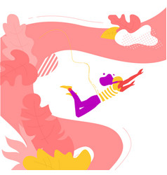 Woman bungee jumping in summer vector