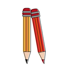 wooden pencils isolated vector image
