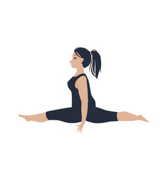 young beautiful woman doing splits vector image