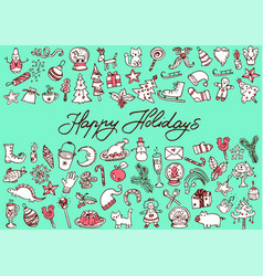 big bundle of christmas doodles vector image vector image