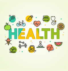 cartoon health concept card poster vector image vector image