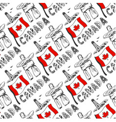 Hand drawn seamless pattern with canada culture vector