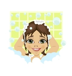 little cute girl washing her hair with soap foam vector image