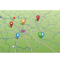 Navigational Map with Icons vector image