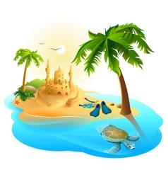 tropical island paradise beach palm tree sand vector image vector image