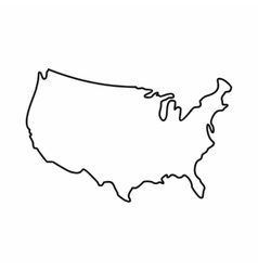 USA map icon outline style vector image vector image
